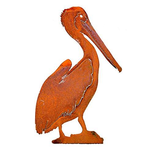Elegant Garden Design 14-inch Brown Pelican Steel Silhouette with Rusty Patina