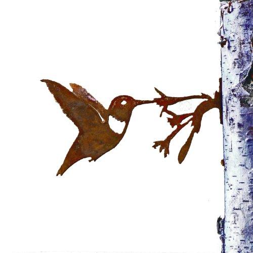 Elegant Garden Design Hummingbird With Flower Steel Silhouette With Rusty Patina