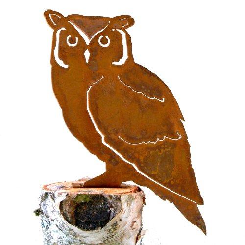 Elegant Garden Design Screech Owl Steel Silhouette With Rusty Patina