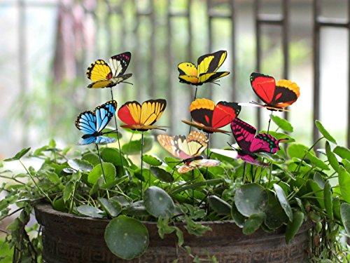 Ginsco 25pcs Butterfly Stakes Outdoor Yard Garden Decor Butterflies