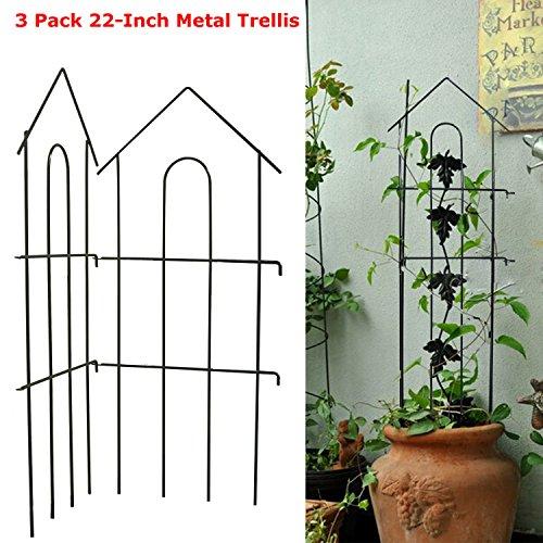 Garden Climber Shelf3 Pack 22-Inch Iron Metal Garden Plant Vegetable Trellis Frame Cage Vine Support for Climbing Plants Flower Vegetable