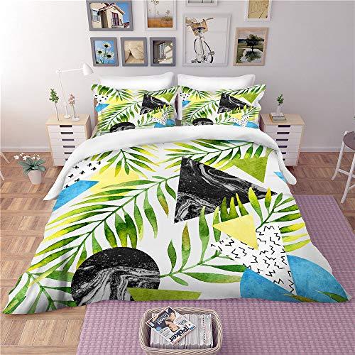 3 Sets of Duvet Cover Bedding Tropical Rainforest High-End Custom Plant Pillowcase Does Not Fade Comfort Microfiber Green01USKING259×229cm