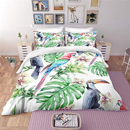 Tropical Rainforest Duvet Cover Bedding Set of 3 High-End Custom Plant Pillowcase Cactus Does Not Fade Comfort Microfiber Green03GBAUSingle140×210cm