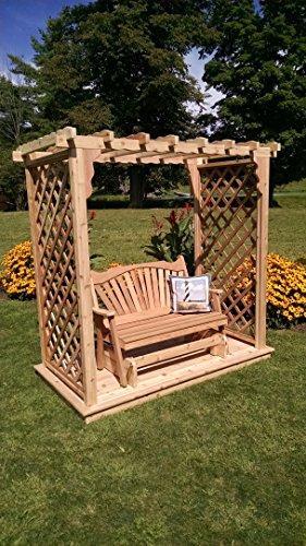 A L Furniture 6 Covington Cedar Arbor with Deck Glider Walk Thru 72W x 40D x 78H Outside 87W x 47D x 87H unfinished