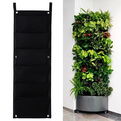 Koram 7 Pockets Vertical Garden Living Wall Hanging Planter Flower Pouch Green Field Pot Felt Indooroutdoor Wall