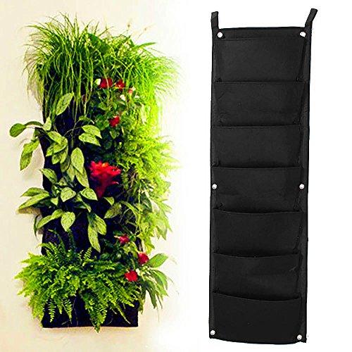 Mmrm Garden Vertical Planter Multi Pocket Wall Mount Living Growing Bag Felt IndoorOutdoor Pot 7-Pocket