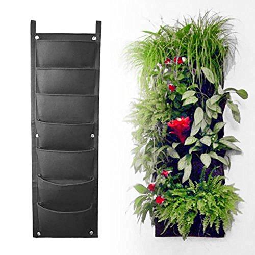 Riin 7 Pockets Indoor Outdoor Wall Balcony Vertical Garden Hanging Planter Bag