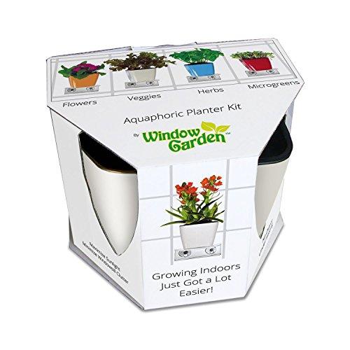 Aquaphoric Indoor Garden Kit - Self Watering Planter  Window Shelf  Fiber Soil  Thriving Herbs Vegetables Flowers Unique Indoor Home Vertical Gardening with Outstanding Results  Perfect Gift