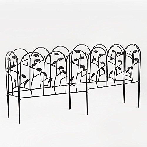 Amagabeli 18 Inches by 7 Feet Rustproof Black Dismountable Metal Decorative Garden Fence - 4  2 Panels with Leaves Decorations Garden Border Fence Garden Fencing Folding Patio Fences Panels