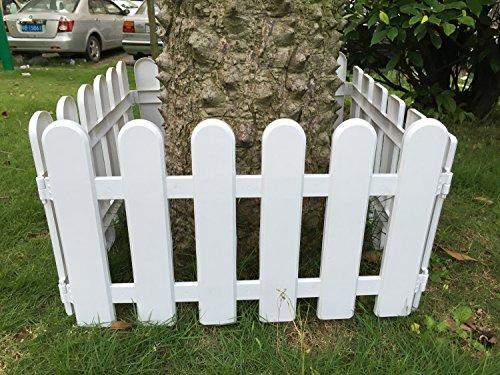 Hineway Nursery Garden Fence Decor Wall Border Picket Fence White PVC Fences 10PcsSet 197X114inches Round-Head