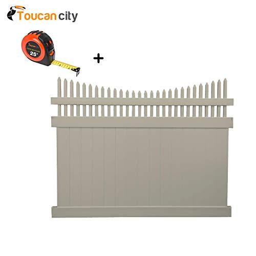 Toucan City Tape Measure and Weatherables Halifax 6 ft H x 8 ft W Khaki Vinyl Privacy Fence Panel Kit PKPR-OTS-6X8