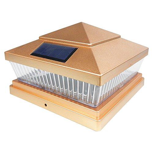 Iglow 1 Pack Copper Outdoor Garden 6 X 6 Solar Smd Led Post Deck Cap Square Fence Light Landscape Pvc Vinyl Wood