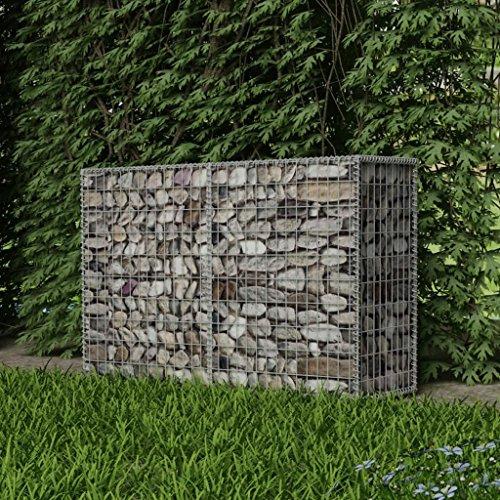 Festnight Gabion Planter Steel Fencing Wire Patio Flower Plant Bed Basket Stone Wire Garden Outdoor Landscape Galvanized Steel Walls Panels 59x197x394 Mesh