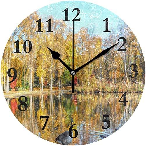 Lmlfes Beautiful Pond Autumn Silent Non Ticking Round Acrylic Wall Clock Home Office School Decorative Clock Art