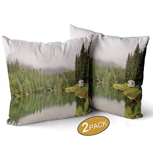 Nine City RV Passing Beautiful PondSquare Pillow Throw Case Soft Covers Set Set of 2 17 X 17