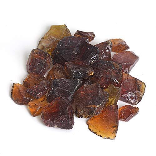 High Luster Reflective Fire Glass GravelFire GemsFire DropsFire Glass Pebbles Stones Beads Chips for Fire Pit Fish Tank Aquarium Garden1-2cm540g119lb Amber