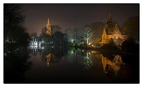 Belgium Houses Pond Night Bruges West Flanders Cities Furniture Decorations magnet fridge magnets