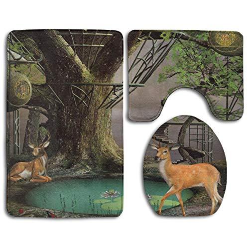 HOUYAN Bathroom Rugs Sets 3 Pieces Fairtale Tree House Pond Deer in Forest Memory Foam Bathroom Mats Set Bath Rug Contour Mat Lid Cover Non-Slip