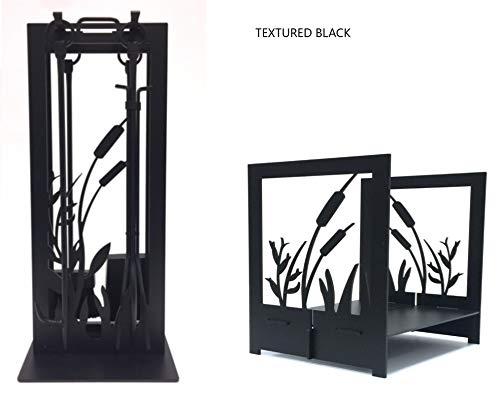 Fireplace ToolLog Set Pond Design Textured Black