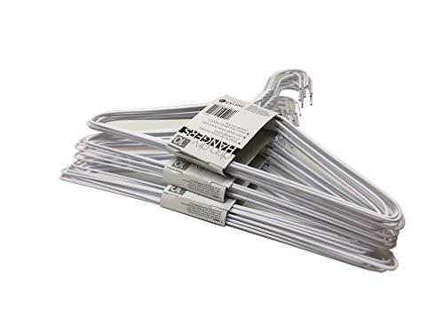 Set of 30 Wire Hangers Galvanized Steel Metal Coat Clothes Hangers with Plastic Coating White Color 16 405Cm Wide - 13 Gauge