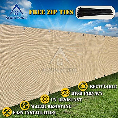 Alion Home&copy Hdpe Privacy Screen Mesh For Pool Patio Deck Balcony Railing Fence No Black Trim 4x16 Beige