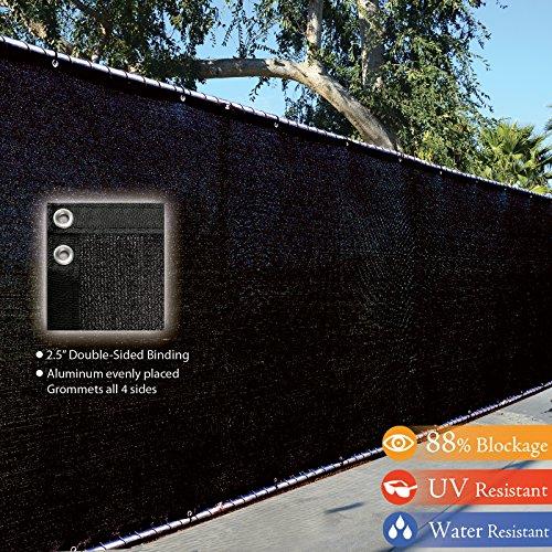 Fence4ever 4 X 50 3rd Gen Black Fence Privacy Screen Windscreen Shade Fabric Mesh Tarp aluminum Grommets