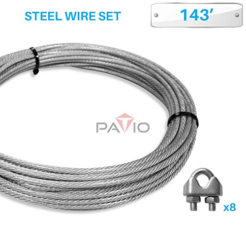 PATIO Paradise Shade Sail Hardware Kit143-Feet Wire Rope and 8 Pcs Clamps Coated Steel Cable 316 7x19 Stand Core