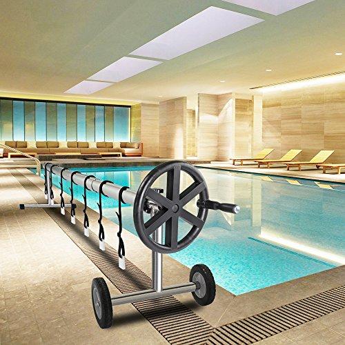 VINGLI Swimming Pool Cover Reel Set Inground Pool Cover Solar Blanket Roller Reel Up to 21-Feet Wide x 40-Feet Length
