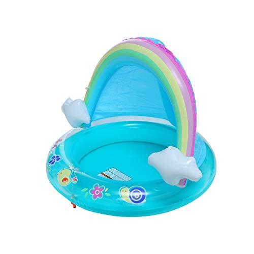 Novania Childrens Swimming Ring Summer Rainbow Splash Shade Inflatable Pool Childrens Rectangular Family Pool Swimming Center Family Inflatable Pool