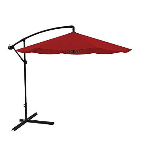 Pure Garden Patio Umbrella Cantilever Hanging Outdoor Shade Easy Crank and Base for Table Deck Balcony Porch Backyard Pool 10 Foot Red