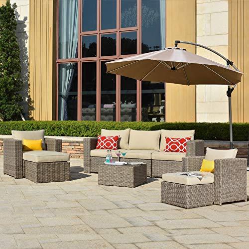ovios Patio furnitue Outdoor Furniture 8 Piece SetsMorden Wicker Patio Furniture sectional with 2 Pillow and Waterproof CoversBackyardPoolSteel Beige
