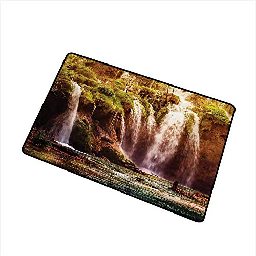 Nature Commercial Grade Entrance mat Waterfall Cascade Forest Tree Moss Lake Stones Rocks Wonder of The World Image for entrances garages patios W157 x L236 InchGreen and Brown