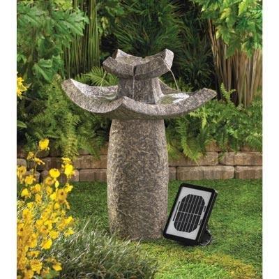 Graceful Asian Temple Outdoor Yard Garden Solar Water Pump Cascading Fountain