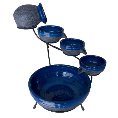 Smart Solar 4-Tier Solar Powered Cascading Fountain BlueberryRustic Blue 23967R01