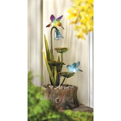 Stunning Hummingbird Haven Outdoor Yard Garden Decor Water Pump Cascading Fountain with Luminescent Light