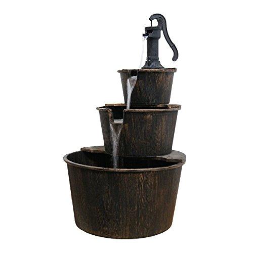 New Outdoor Water Fountain Pump And Barrels Garden Yard Decor 3 Tier Cascade po455k5u 7rk-b26553