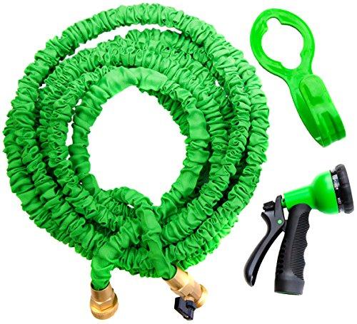 GreenThumbing 50ft Expandable Garden Water Hose Double Latex Layers Flexible Brass Fittings Expanding Garden Water Hose FREE Hanger Sprayer