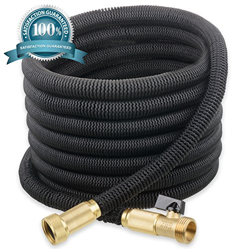NEW  2017 GNOME Expanding Garden Hose 50 ft - No-Kink Flexible Expandable Water Hose  Heavy Duty USA Sized Solid Brass Connectors With OnOff Valve  Light Weight Free Storage Bag