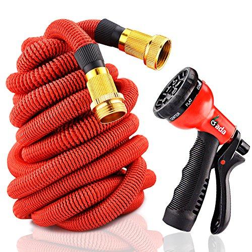 Gada Flexible Garden Hose With 8-Function Sprayer - Expandable Hose Pipe,Wont Leak Wont Burst Strong Aluminium Connectors Not Plastic 50FT