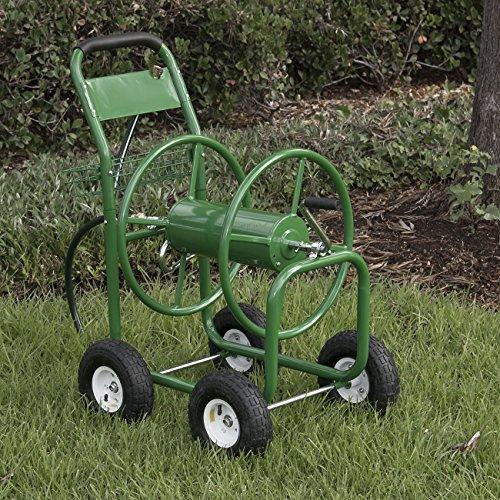 ARKSEN Garden Water Hose Reel Cart 300 FT Outdoor Heavy Duty Yard Planting w Basket Green