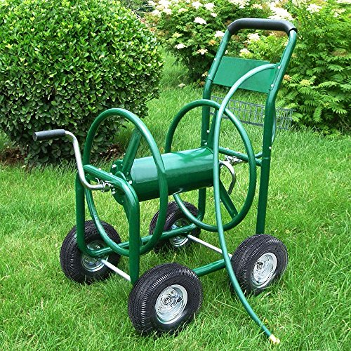 Garden Water Hose Reel Cart 300 FT Outdoor Heavy Duty Yard Water Planting Hose Reel Cart WBasket
