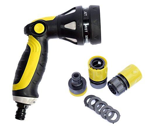 Garden Hose Hand Sprayer Nozzle - Professional Quality Spray Gun Heavy Duty 8 Pattern Spray Settings for High Pressure Adjustable Water Flow Set of 5 Pc
