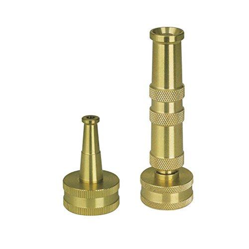 Sun Joe Sji-4bhnc Ultimate Solid Brass Heavy Duty Adjustable Twist Hose Nozzle And Bonus Jet Sweeper Nozzle