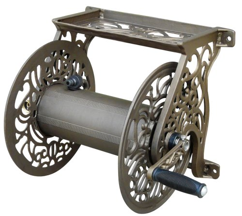Liberty Garden Products Decorative Non-rust Cast Aluminum Wall Mounted Garden Hose Reel With 125-foot Capacity