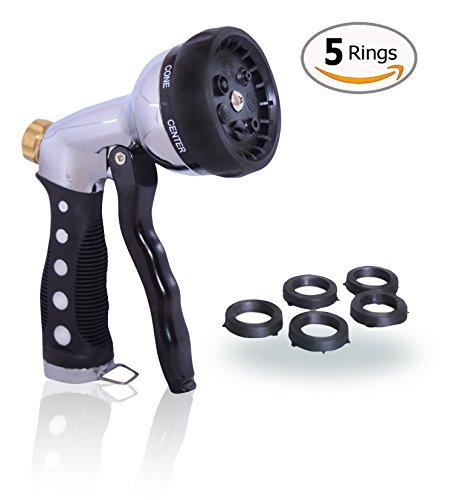 Garden Hose Nozzle Hand Sprayer Heavy Duty Metal Construction  High Pressure Pistol Grip With 8 Water Spray Patterns