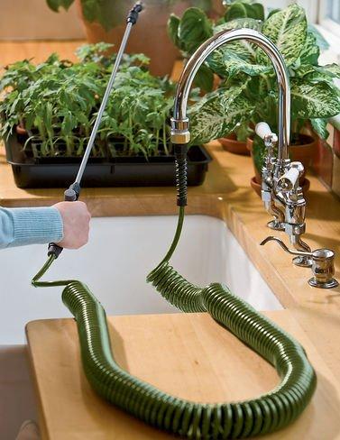 Mini Coil Indoor Garden Hose with Sprayer
