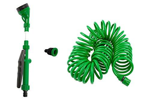 Coiled Garden Hose5 Pattern Water Nozzleamp Tap Adapter Bonus - Flexibleretractablekink Freendash Expandabledrinking