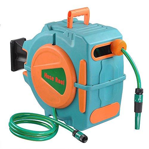 AMPERSAND SHOPS Garden Essentials 65 Ft Retractable Water Hose Reel Automatic Rewind Wall Mount