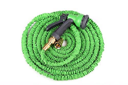 Tech-plus Super Lightweight Expanding Garden Hose8 Functions Spray Garden Hose Nozzle no Kink Hose Hideaway