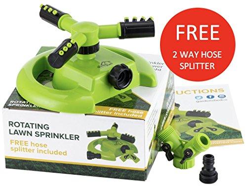 Rotary Lawn Sprinkler - Free 2 Way Hose Splitterndash Best Lightweight Garden Sprinklers- Covers 1000sq Ft - Great